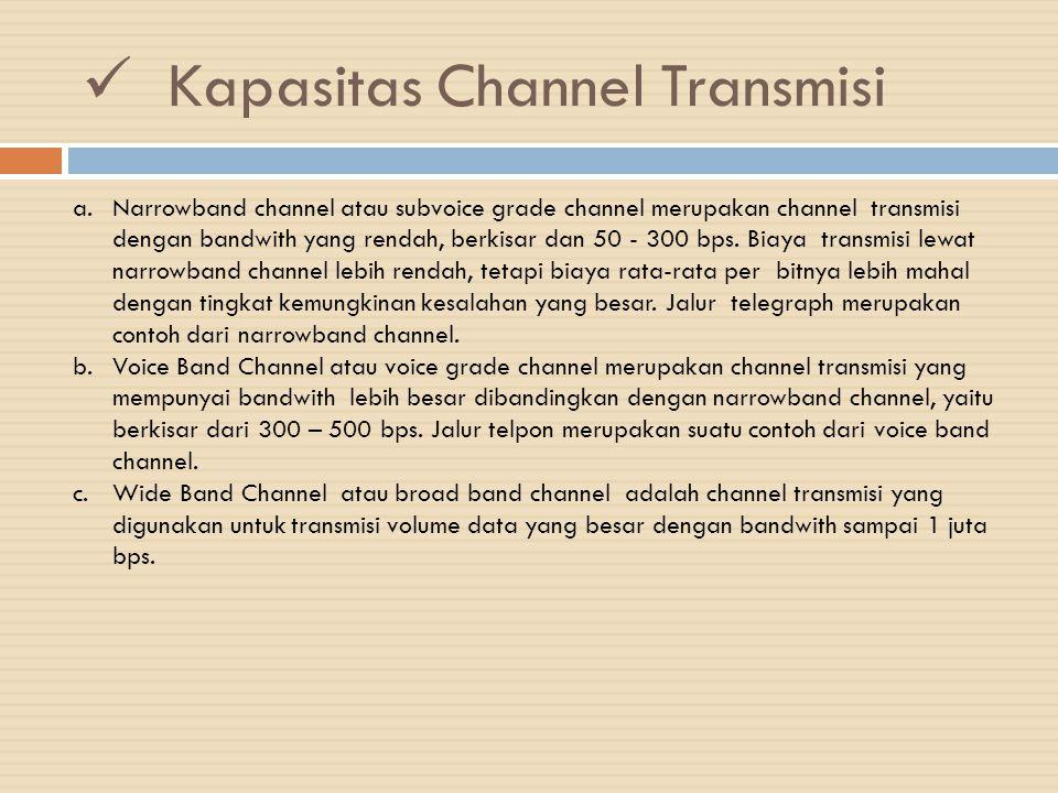 Kapasitas Channel Transmisi a.Narrowband channel atau subvoice grade channel merupakan channel transmisi dengan bandwith yang rendah, berkisar dan 50