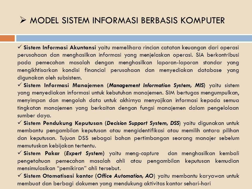  MODEL SISTEM INFORMASI BERBASIS KOMPUTER Sistem Informasi Akuntansi yaitu memelihara rincian catatan keuangan dari operasi perusahaan dan menghasilkan informasi yang menjelaskan operasi.