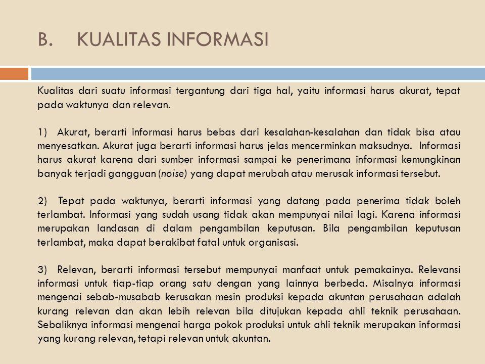 B.KUALITAS INFORMASI Kualitas dari suatu informasi tergantung dari tiga hal, yaitu informasi harus akurat, tepat pada waktunya dan relevan.