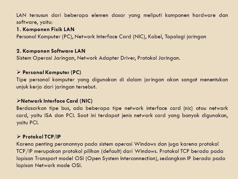 LAN tersusun dari beberapa elemen dasar yang meliputi komponen hardware dan software, yaitu: 1. Komponen Fisik LAN Personal Komputer (PC), Network Int