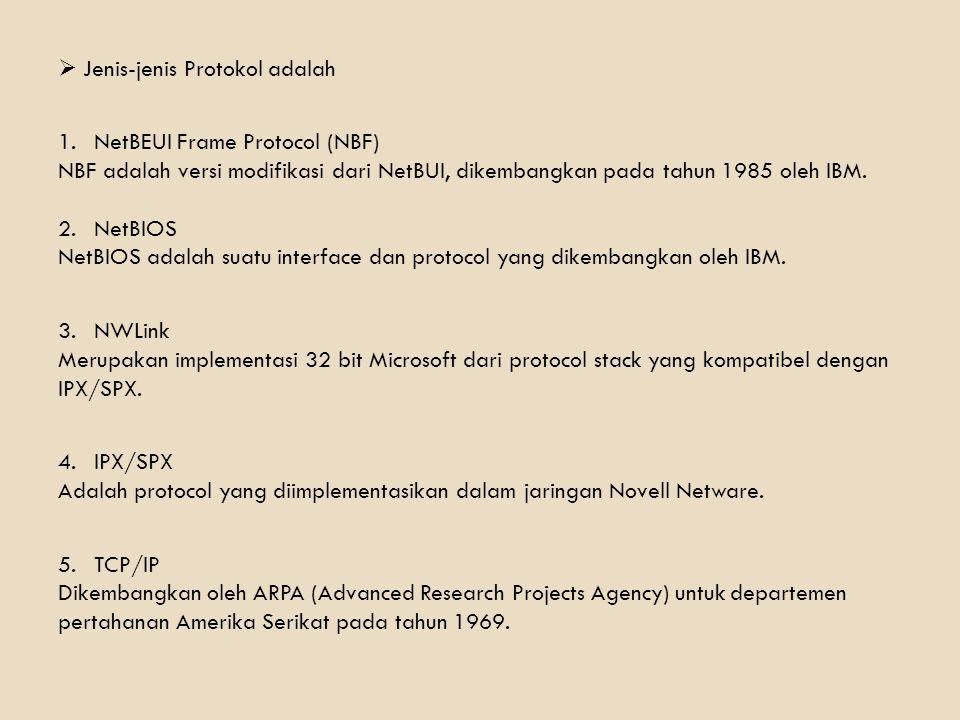  Jenis-jenis Protokol adalah 1.NetBEUI Frame Protocol (NBF) NBF adalah versi modifikasi dari NetBUI, dikembangkan pada tahun 1985 oleh IBM. 2.NetBIOS