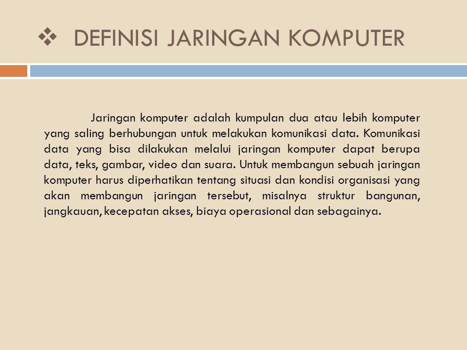  DEFINISI JARINGAN KOMPUTER Jaringan komputer adalah kumpulan dua atau lebih komputer yang saling berhubungan untuk melakukan komunikasi data. Komuni
