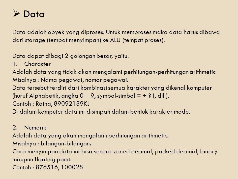  Data Data adalah obyek yang diproses. Untuk memproses maka data harus dibawa dari storage (tempat menyimpan) ke ALU (tempat proses). Data dapat diba