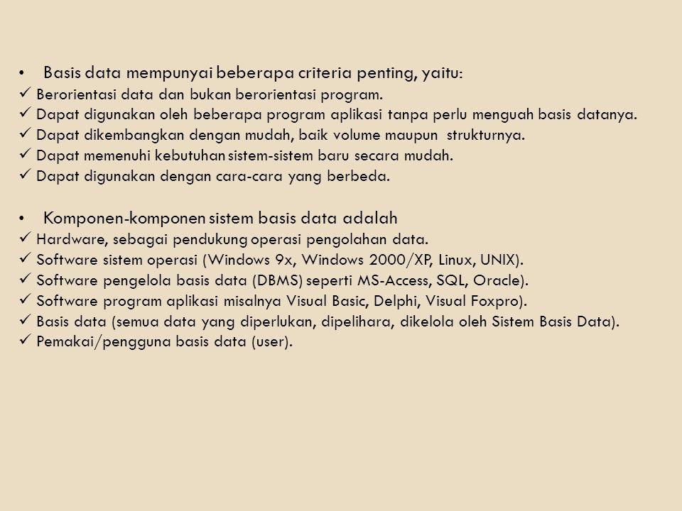 Basis data mempunyai beberapa criteria penting, yaitu: Berorientasi data dan bukan berorientasi program. Dapat digunakan oleh beberapa program aplikas