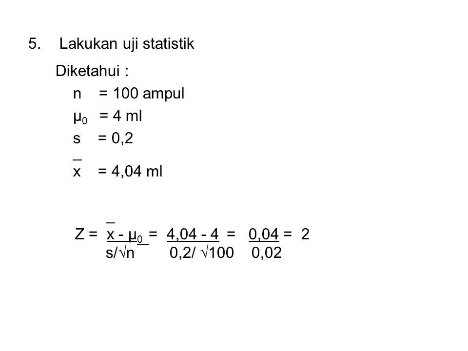 5.Lakukan uji statistik Diketahui : n = 100 ampul μ 0 = 4 ml s = 0,2 _ x = 4,04 ml _ Z = x - μ 0 = 4,04 - 4 = 0,04 = 2 s/√n 0,2/ √100 0,02