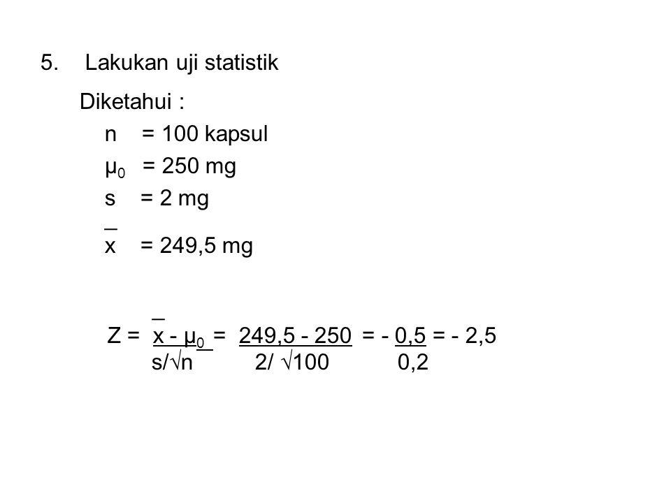 5.Lakukan uji statistik Diketahui : n = 100 kapsul μ 0 = 250 mg s = 2 mg _ x = 249,5 mg _ Z = x - μ 0 = 249,5 - 250 = - 0,5 = - 2,5 s/√n 2/ √100 0,2