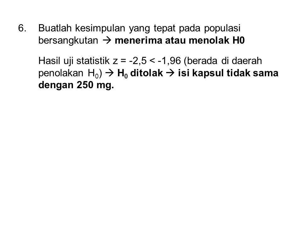 6.Buatlah kesimpulan yang tepat pada populasi bersangkutan  menerima atau menolak H0 Hasil uji statistik z = -2,5 < -1,96 (berada di daerah penolakan