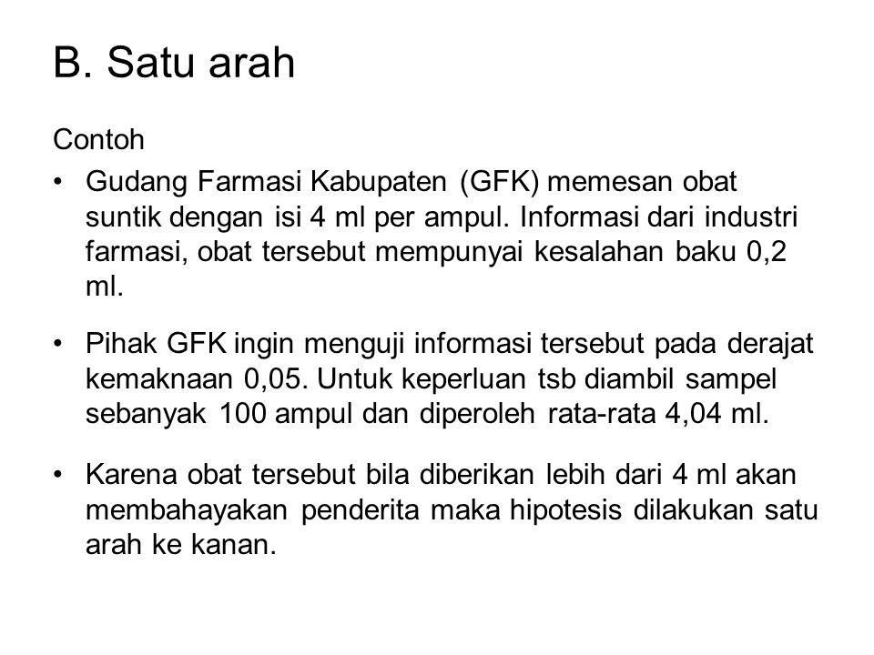 B. Satu arah Contoh Gudang Farmasi Kabupaten (GFK) memesan obat suntik dengan isi 4 ml per ampul. Informasi dari industri farmasi, obat tersebut mempu