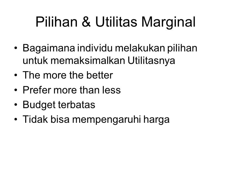 Pilihan & Utilitas Marginal Bagaimana individu melakukan pilihan untuk memaksimalkan Utilitasnya The more the better Prefer more than less Budget terb
