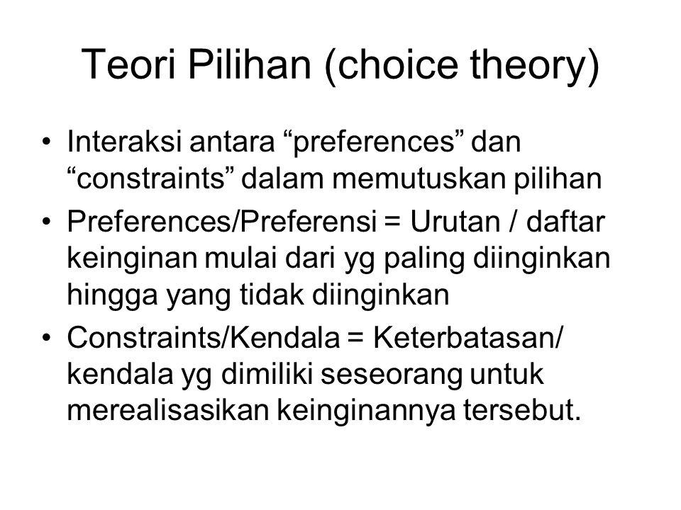 """Teori Pilihan (choice theory) Interaksi antara """"preferences"""" dan """"constraints"""" dalam memutuskan pilihan Preferences/Preferensi = Urutan / daftar keing"""