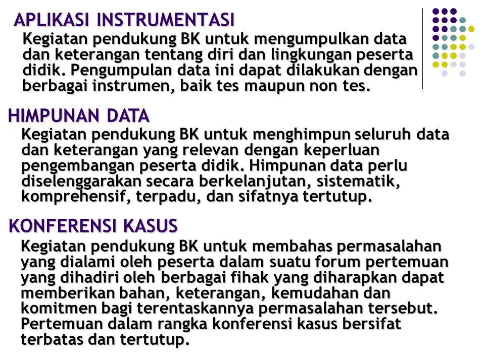 KEGIATAN PENDUKUNG BIMBINGAN DAN KONSELING 1.A PLIKASI INSTRUMENTASI BK (TES/ NON-TES) 2.HIMPUNAN DATA (PRIBADI SISWA, PRESTASI, OBSERVASI, ABSENSI, C