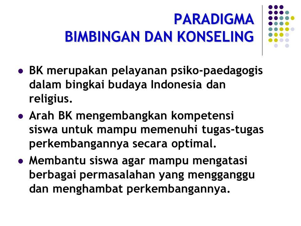 PARADIGMA BIMBINGAN DAN KONSELING BK merupakan pelayanan psiko-paedagogis dalam bingkai budaya Indonesia dan religius.