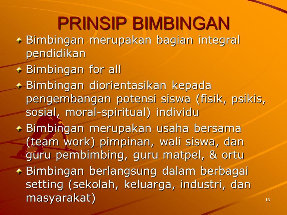 13 PRINSIP BIMBINGAN Bimbingan merupakan bagian integral pendidikan Bimbingan for all Bimbingan diorientasikan kepada pengembangan potensi siswa (fisi