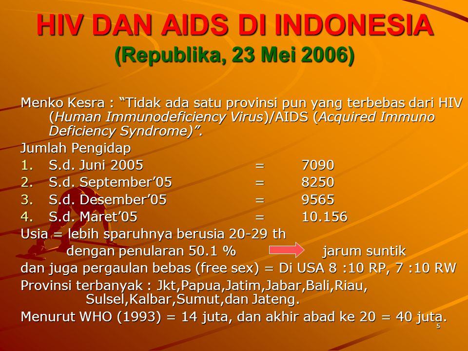 """5 HIV DAN AIDS DI INDONESIA (Republika, 23 Mei 2006) Menko Kesra : """"Tidak ada satu provinsi pun yang terbebas dari HIV (Human Immunodeficiency Virus)/"""