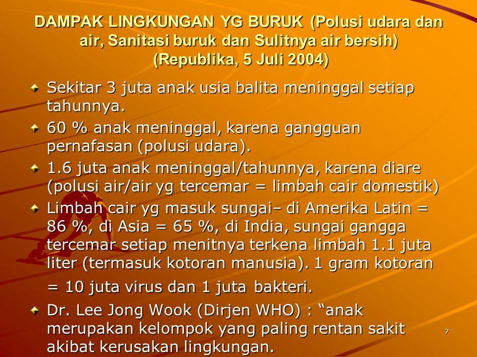 7 DAMPAK LINGKUNGAN YG BURUK (Polusi udara dan air, Sanitasi buruk dan Sulitnya air bersih) (Republika, 5 Juli 2004) Sekitar 3 juta anak usia balita m