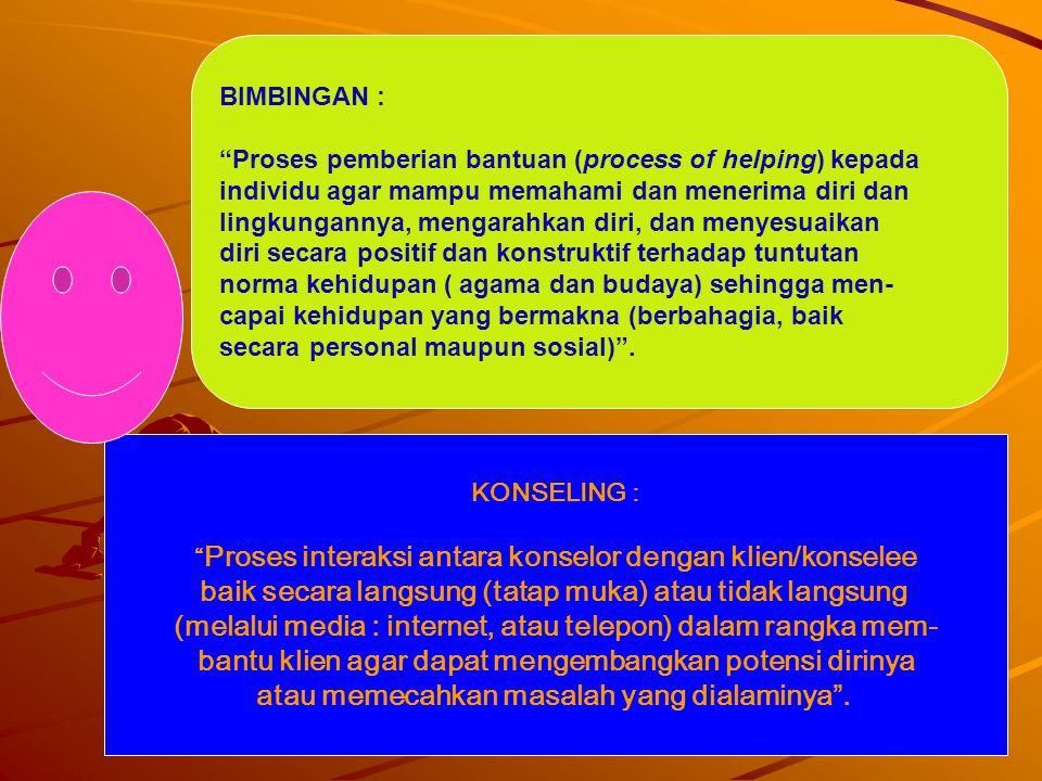 """9 BIMBINGAN : """"Proses pemberian bantuan (process of helping) kepada individu agar mampu memahami dan menerima diri dan lingkungannya, mengarahkan diri"""