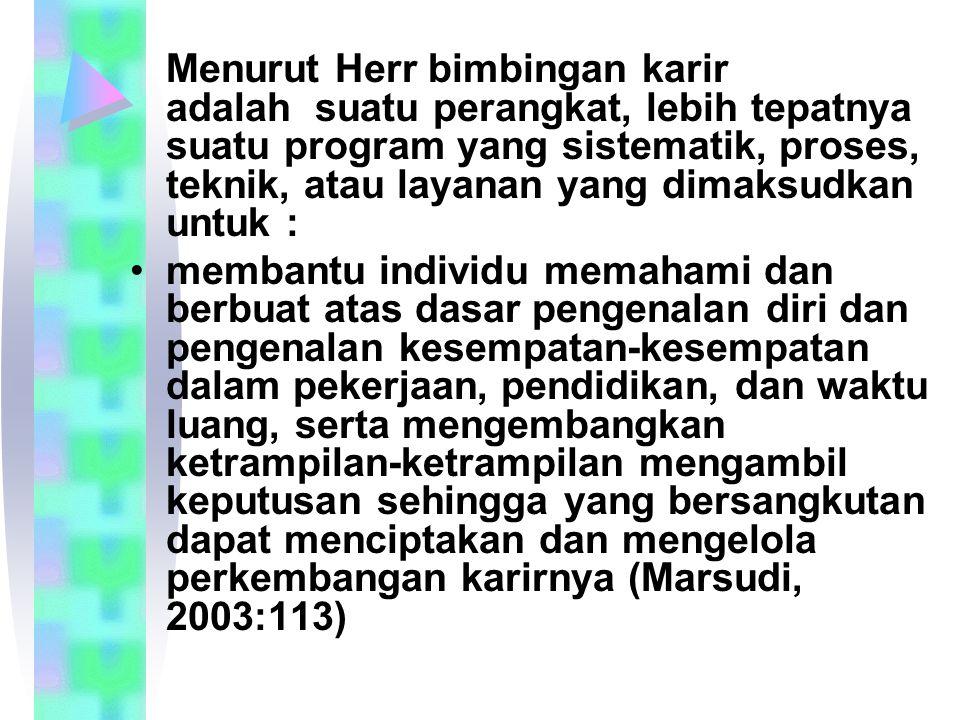 Menurut Herr bimbingan karir adalah suatu perangkat, lebih tepatnya suatu program yang sistematik, proses, teknik, atau layanan yang dimaksudkan untuk