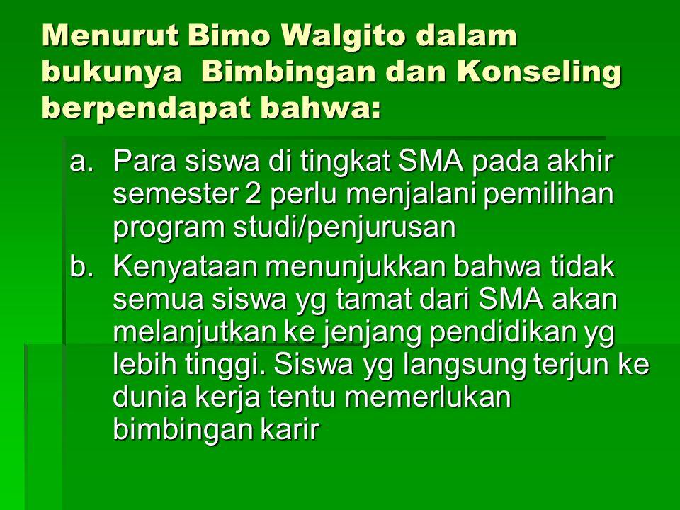 Menurut Bimo Walgito dalam bukunya Bimbingan dan Konseling berpendapat bahwa: a.Para siswa di tingkat SMA pada akhir semester 2 perlu menjalani pemili