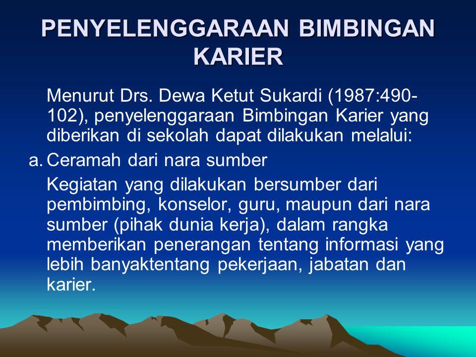 PENYELENGGARAAN BIMBINGAN KARIER Menurut Drs. Dewa Ketut Sukardi (1987:490- 102), penyelenggaraan Bimbingan Karier yang diberikan di sekolah dapat dil