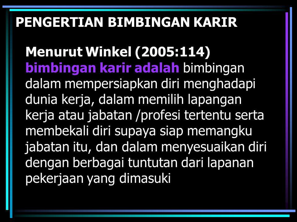 PENGERTIAN BIMBINGAN KARIR Menurut Winkel (2005:114) bimbingan karir adalah bimbingan dalam mempersiapkan diri menghadapi dunia kerja, dalam memilih l
