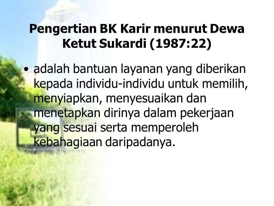 Pengertian BK Karir menurut Dewa Ketut Sukardi (1987:22) adalah bantuan layanan yang diberikan kepada individu-individu untuk memilih, menyiapkan, men