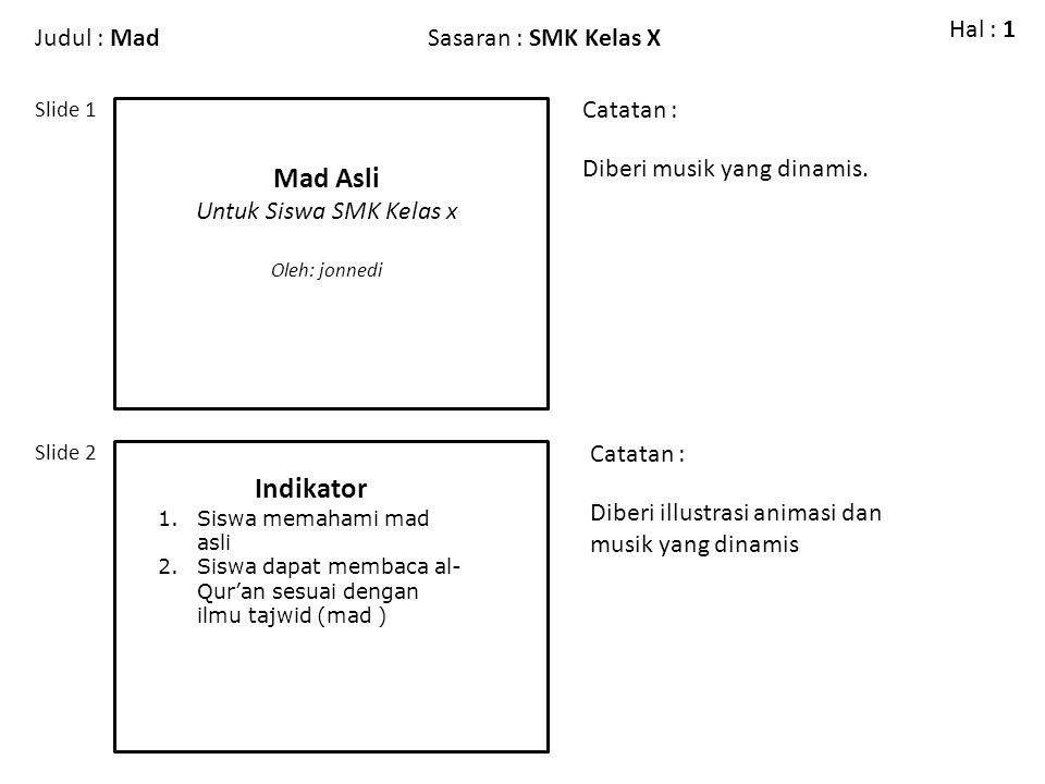 Judul : Ciri-Ciri Mad ThabiiSasaran : SMK Kelas X Slide 3 Slide 4 Catatan : Hal : 1 Pengantar Diberi illustrasi video anak membaca alqur'an Dengan tajwid.