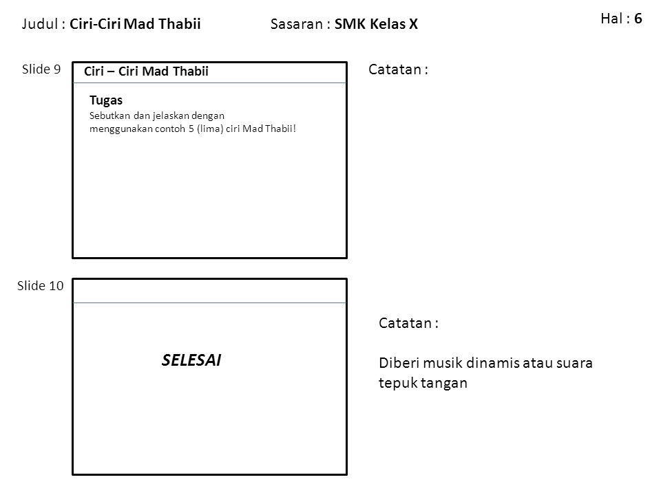 Judul : Ciri-Ciri Mad ThabiiSasaran : SMK Kelas X Slide 9 Slide 10 Catatan : Hal : 6 Ciri – Ciri Mad Thabii Tugas Sebutkan dan jelaskan dengan menggun
