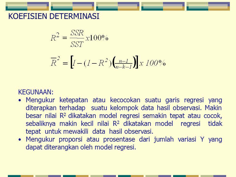 KEGUNAAN: Mengukur ketepatan atau kecocokan suatu garis regresi yang diterapkan terhadap suatu kelompok data hasil observasi. Makin besar nilai R 2 di