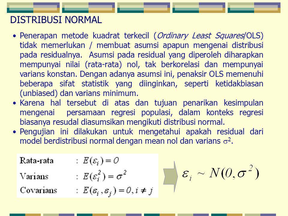 Penerapan metode kuadrat terkecil (Ordinary Least Squares/OLS) tidak memerlukan / membuat asumsi apapun mengenai distribusi pada residualnya. Asumsi p