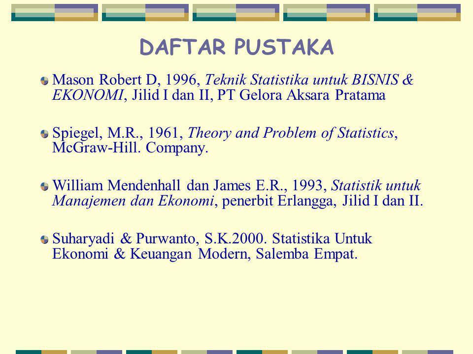 DAFTAR PUSTAKA Mason Robert D, 1996, Teknik Statistika untuk BISNIS & EKONOMI, Jilid I dan II, PT Gelora Aksara Pratama Spiegel, M.R., 1961, Theory an