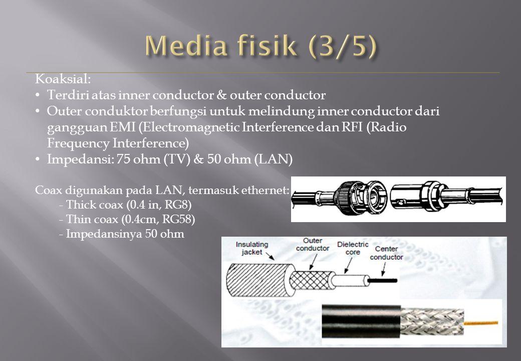Koaksial: Terdiri atas inner conductor & outer conductor Outer conduktor berfungsi untuk melindung inner conductor dari gangguan EMI (Electromagnetic