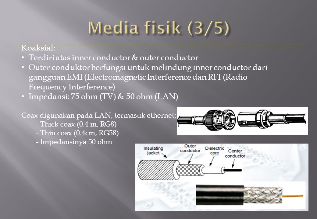 Koaksial: Terdiri atas inner conductor & outer conductor Outer conduktor berfungsi untuk melindung inner conductor dari gangguan EMI (Electromagnetic Interference dan RFI (Radio Frequency Interference) Impedansi: 75 ohm (TV) & 50 ohm (LAN) Coax digunakan pada LAN, termasuk ethernet: - Thick coax (0.4 in, RG8) - Thin coax (0.4cm, RG58) - Impedansinya 50 ohm