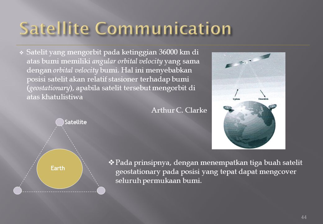 44  Satelit yang mengorbit pada ketinggian 36000 km di atas bumi memiliki angular orbital velocity yang sama dengan orbital velocity bumi.