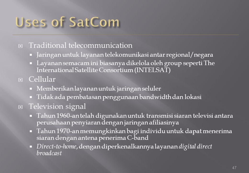 47  Traditional telecommunication  Jaringan untuk layanan telekomunikasi antar regional/negara  Layanan semacam ini biasanya dikelola oleh group se