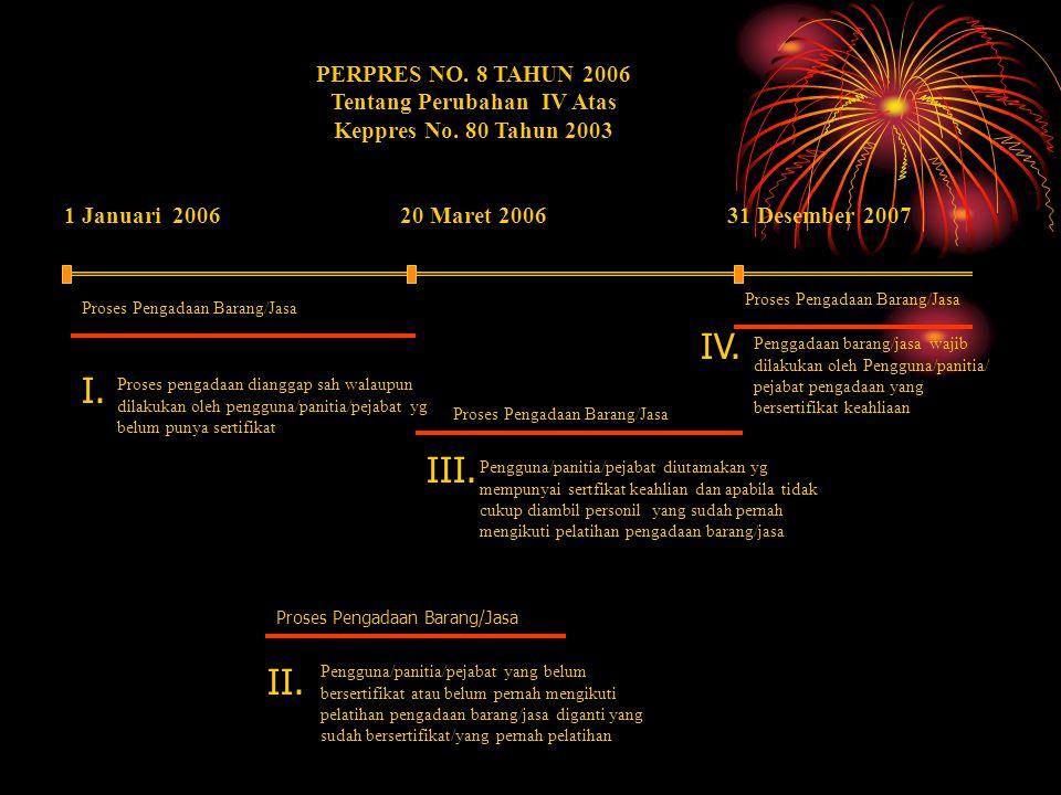 1 Januari 2006 PERPRES NO. 8 TAHUN 2006 Tentang Perubahan IV Atas Keppres No. 80 Tahun 2003 20 Maret 2006 Proses pengadaan dianggap sah walaupun dilak
