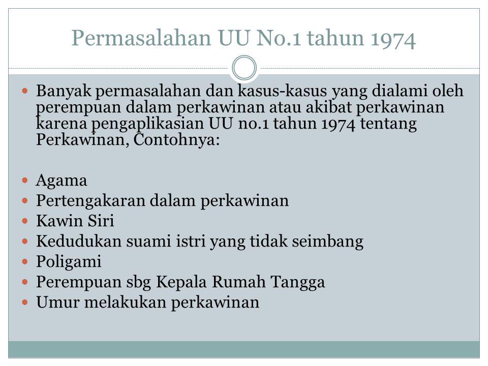 Permasalahan UU No.1 tahun 1974 Banyak permasalahan dan kasus-kasus yang dialami oleh perempuan dalam perkawinan atau akibat perkawinan karena pengapl