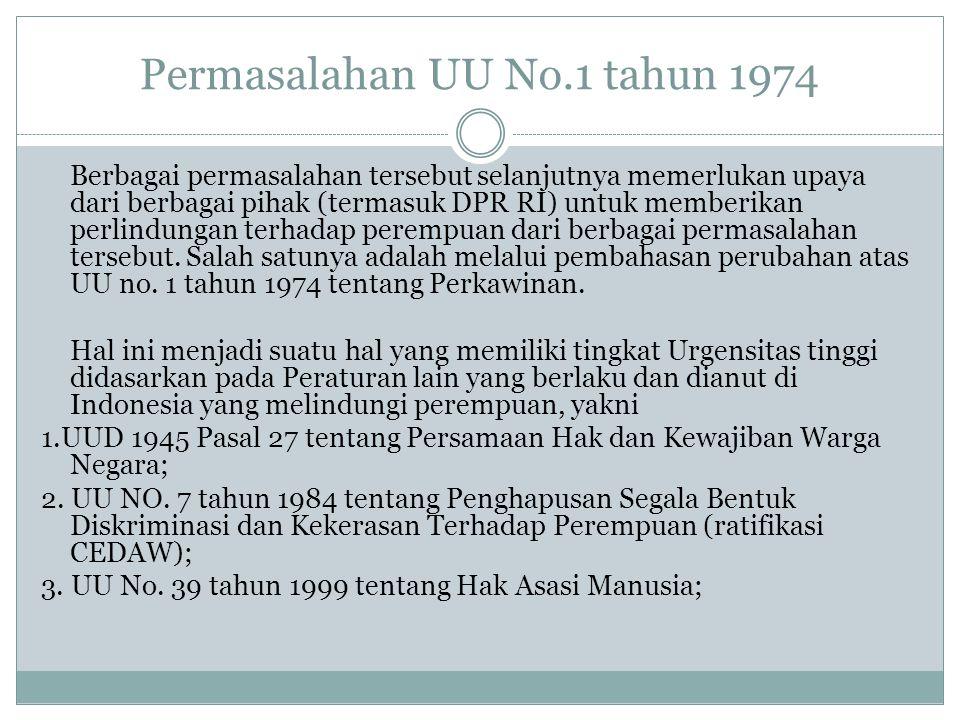 Permasalahan UU No.1 tahun 1974 Berbagai permasalahan tersebut selanjutnya memerlukan upaya dari berbagai pihak (termasuk DPR RI) untuk memberikan per