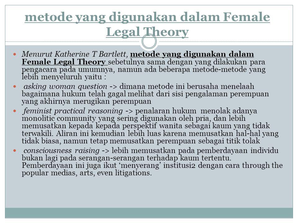 Alasan.Female Legal Theory digunakan sebagai landasan teori bagi penganut konsep Feminisme 1.Mengidentifikasi sumber ketidakjelasan dan ketida kadilan dari produk hukum terhadap kaum perempuan 2.Mencari cara untuk mencapai agar tercipta keadilan terhadap perempuan di dalam lembaga maupun kehidupan sehari – hari 3.Mengidentifikasi alasan terjadinya penolakan - penolakan terhadap batasan – batasan hukum yang membatasi perempuan