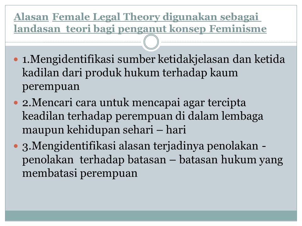 Alasan.Female Legal Theory digunakan sebagai landasan teori bagi penganut konsep Feminisme 1.Mengidentifikasi sumber ketidakjelasan dan ketida kadilan