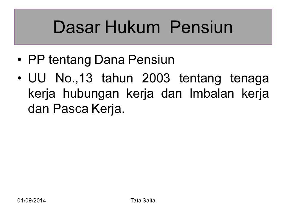 Dasar Hukum Pensiun PP tentang Dana Pensiun UU No.,13 tahun 2003 tentang tenaga kerja hubungan kerja dan Imbalan kerja dan Pasca Kerja. 01/09/2014Tata