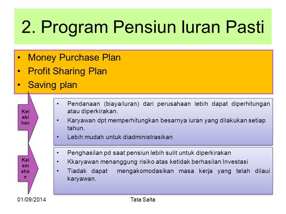 2. Program Pensiun Iuran Pasti Money Purchase Plan Profit Sharing Plan Saving plan 01/09/2014Tata Salta Pendanaan (biaya/iuran) dari perusahaan lebih