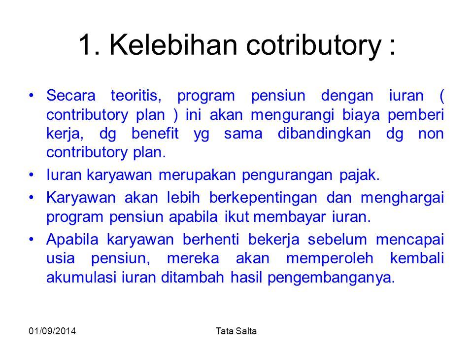 1. Kelebihan cotributory : Secara teoritis, program pensiun dengan iuran ( contributory plan ) ini akan mengurangi biaya pemberi kerja, dg benefit yg