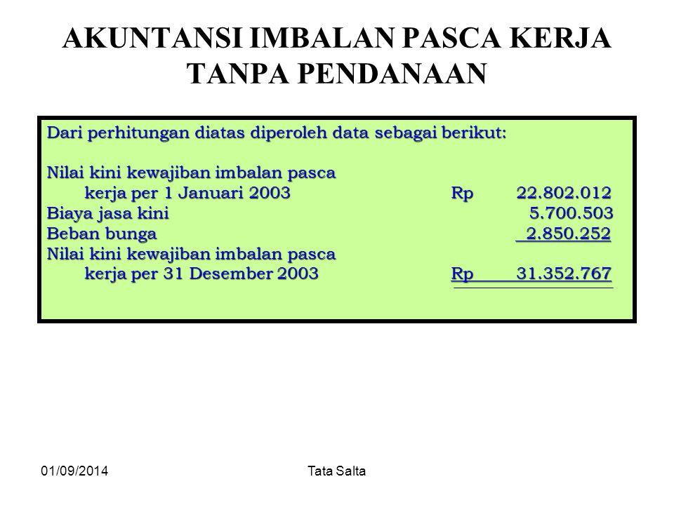 01/09/2014Tata Salta AKUNTANSI IMBALAN PASCA KERJA TANPA PENDANAAN Dari perhitungan diatas diperoleh data sebagai berikut: Nilai kini kewajiban imbala