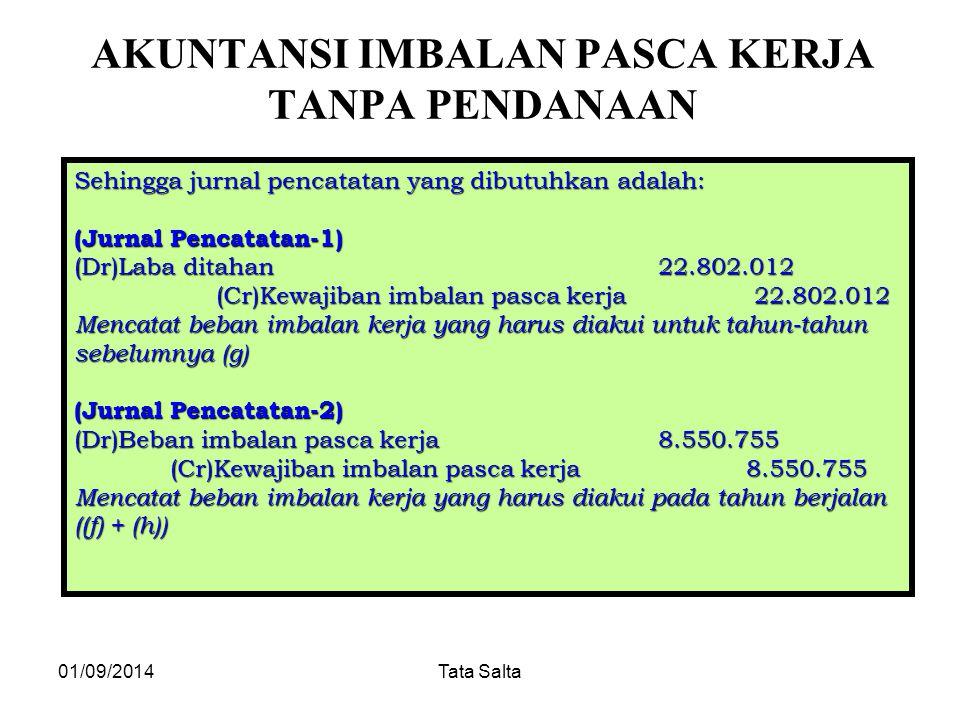 01/09/2014Tata Salta AKUNTANSI IMBALAN PASCA KERJA TANPA PENDANAAN Sehingga jurnal pencatatan yang dibutuhkan adalah: (Jurnal Pencatatan-1) (Dr)Laba d