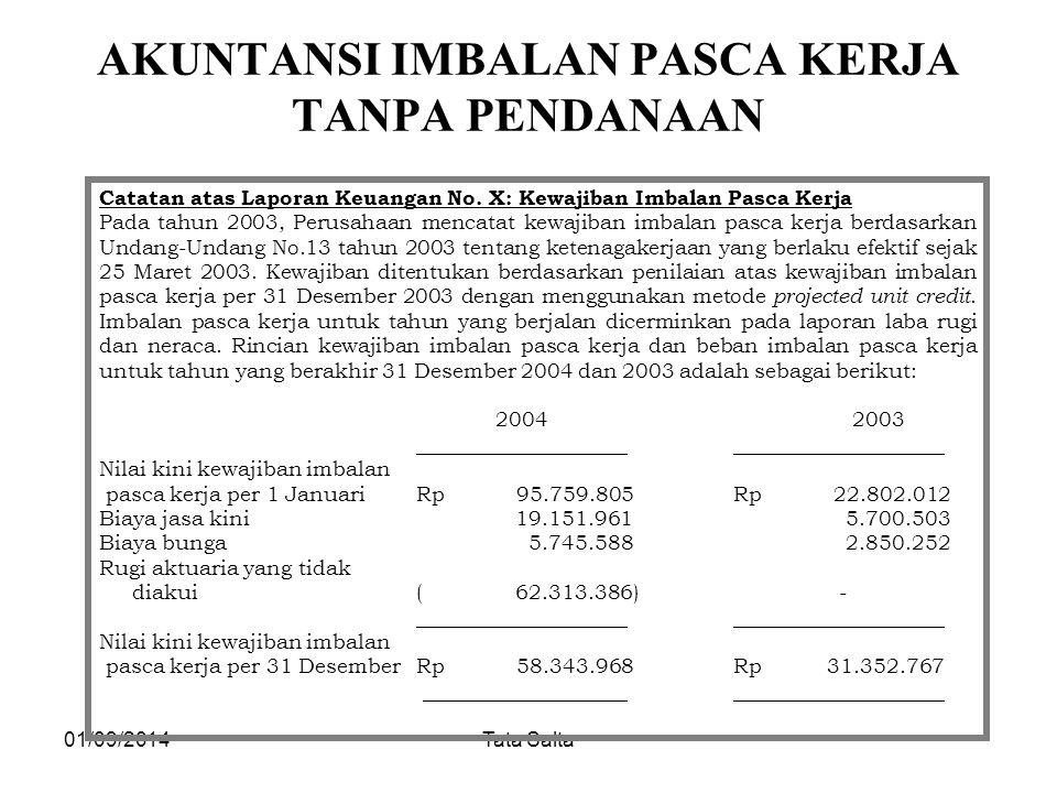 01/09/2014Tata Salta AKUNTANSI IMBALAN PASCA KERJA TANPA PENDANAAN Catatan atas Laporan Keuangan No. X: Kewajiban Imbalan Pasca Kerja Pada tahun 2003,