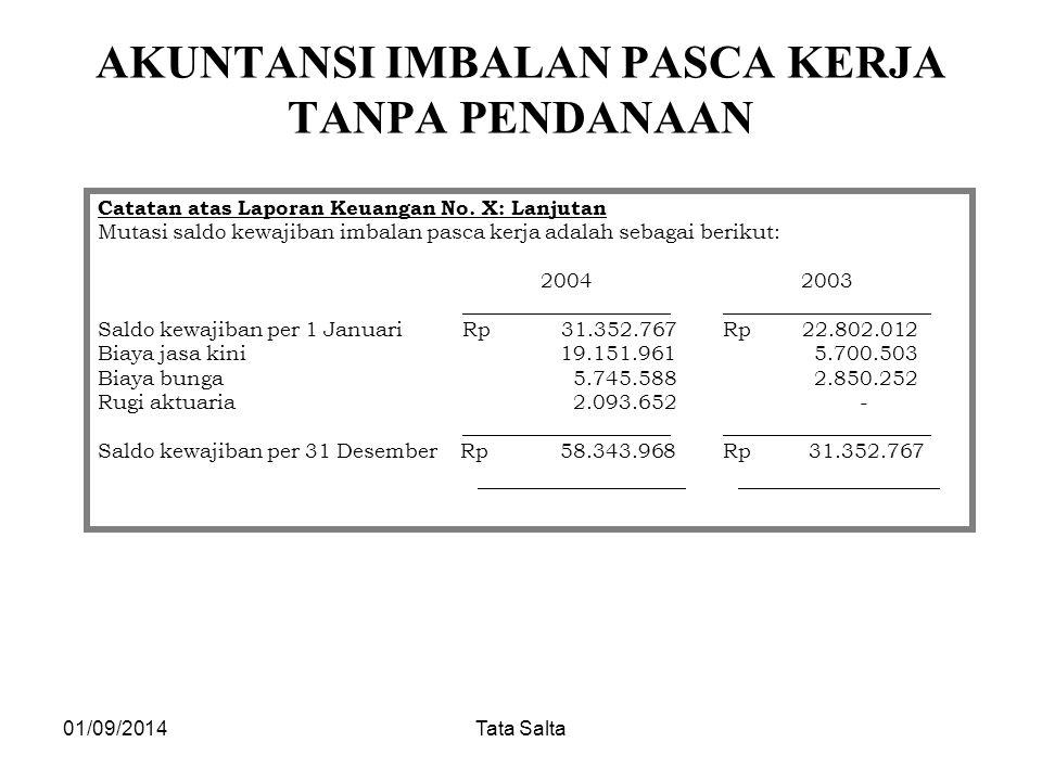 01/09/2014Tata Salta AKUNTANSI IMBALAN PASCA KERJA TANPA PENDANAAN Catatan atas Laporan Keuangan No. X: Lanjutan Mutasi saldo kewajiban imbalan pasca