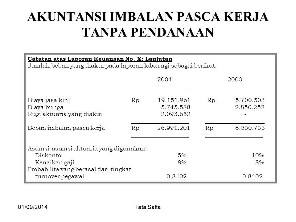 01/09/2014Tata Salta AKUNTANSI IMBALAN PASCA KERJA TANPA PENDANAAN Catatan atas Laporan Keuangan No. X: Lanjutan Jumlah beban yang diakui pada laporan