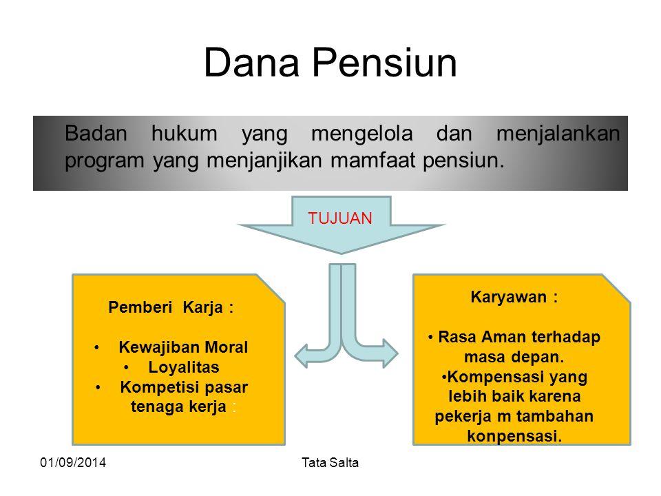 Dana Pensiun Badan hukum yang mengelola dan menjalankan program yang menjanjikan mamfaat pensiun. 01/09/2014Tata Salta TUJUAN Karyawan : Rasa Aman ter