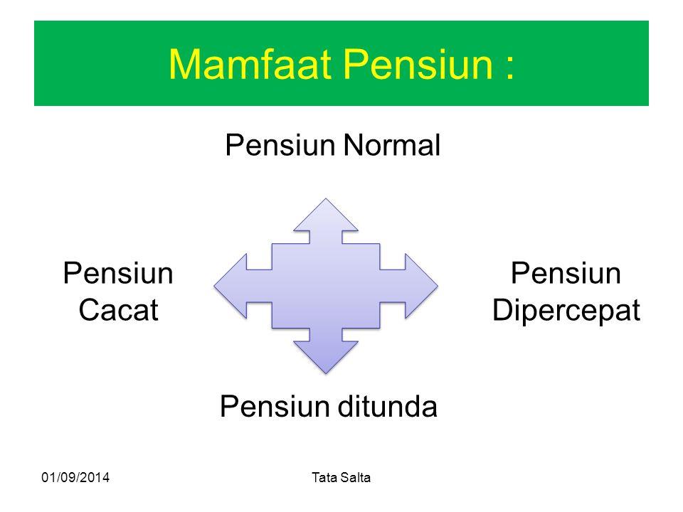 Mamfaat Pensiun : Pensiun Normal 01/09/2014Tata Salta Pensiun Dipercepat Pensiun ditunda Pensiun Cacat