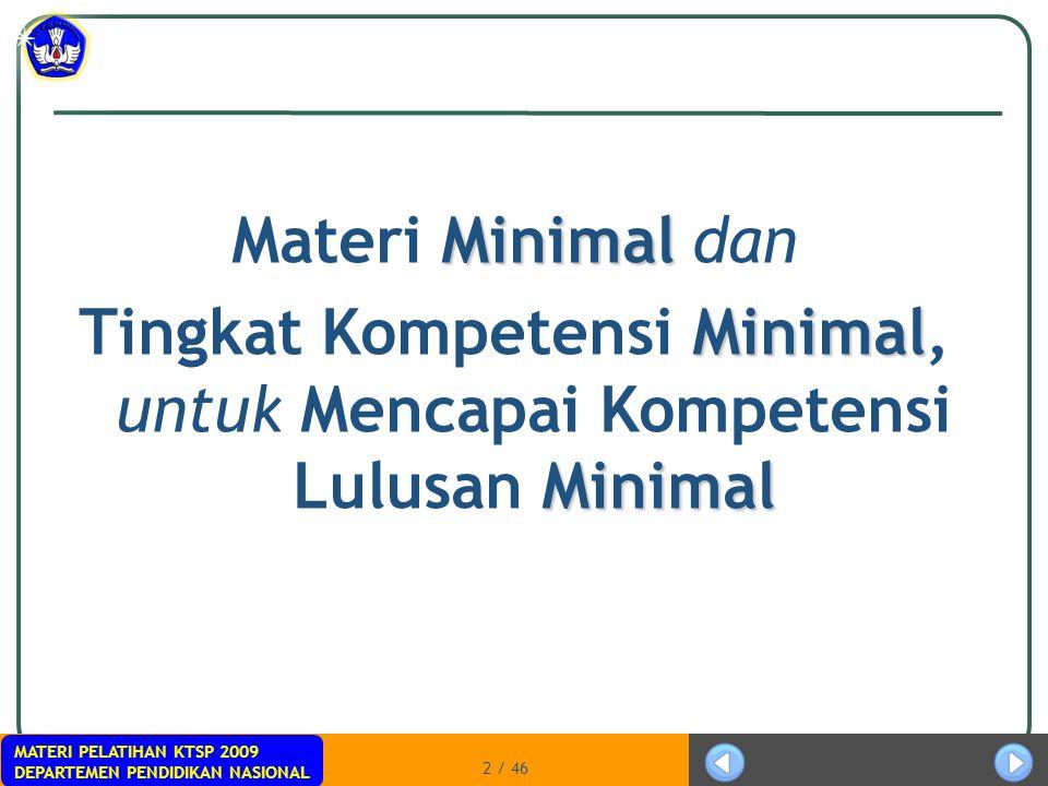 MATERI PELATIHAN KTSP 2009 DEPARTEMEN PENDIDIKAN NASIONAL 2 / 46 Minimal Materi Minimal dan Minimal Minimal Tingkat Kompetensi Minimal, untuk Mencapai